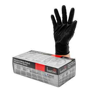 Bastion Nitrile Black PowderFree Gloves Large - UniPak