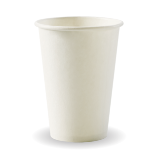10oz Coffee Cups White (80mm) Single Wall - BioPak