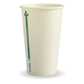 12oz Coffee Cups White Green Line (80mm) Single Wall - BioPak
