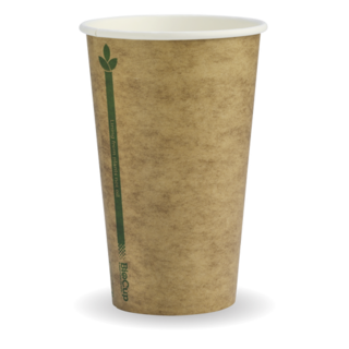 12oz Coffee Cups Kraft Green Line (80mm) Single Wall - BioPak