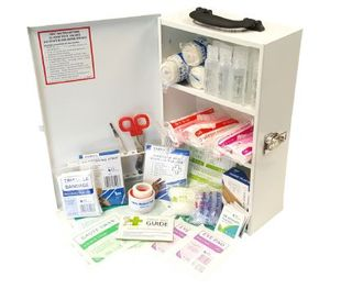Food/Catering Large First Aid Kit in clear front portrait metal cabinet