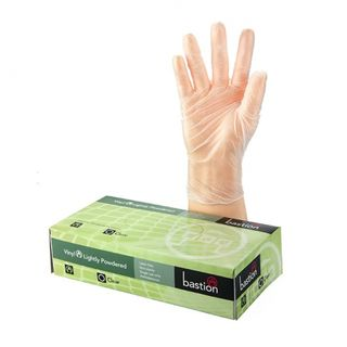 Bastion Vinyl Powdered Clear Gloves XLarge - UniPak