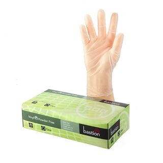Bastion Vinyl PowderFree Clear Gloves Medium - UniPak