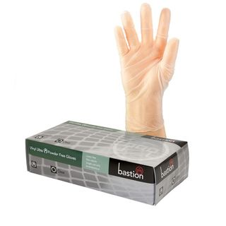 Bastion Vinyl Ultra PowderFree Clear Gloves Medium - UniPak