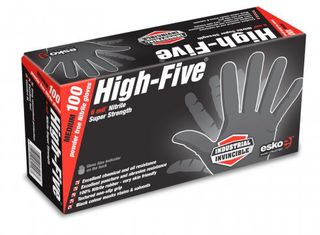 HIGH FIVE' Disposable H/Duty BLACK Nitrile gloves, P/F 2XL - Esko