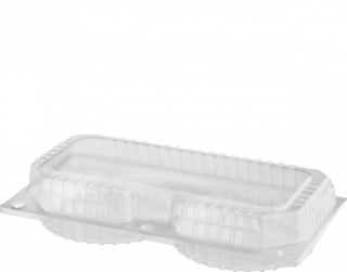 Eco-Smart' Clearview' Double Custard Pack, Hinged Lid, Clear - Castaway
