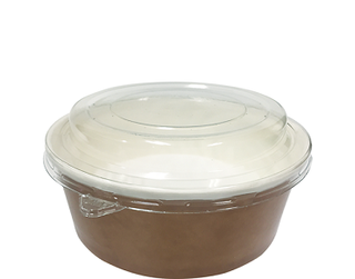 Multi-Food Pot & PET Lid Combo-Pak', 550 ml Brown kraft / Clear Lid