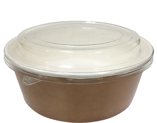 Multi-Food Pot & PET Lid Combo-Pak', 1000 ml Brown kraft / Clear Lid