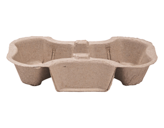 Enviroboard' 2 Cup Carry Tray, Natural (suit 8 - 24oz Cups) - Castaway