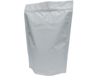 1kg Stand-Up Coffee Pouch, Rip-Top & Resealable Zipper, Matte White - Castaway