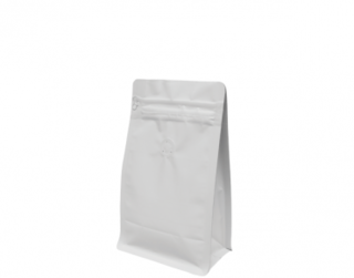 250g Box Bottom Coffee Bag, Resealable Zipper, Matte White - Castaway