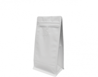500g Box Bottom Coffee Bag, Resealable Zipper, Matte White - Castaway