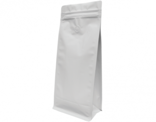 1kg Box Bottom Coffee Bag, Resealable Zipper, Matte White - Castaway