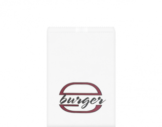Greaseproof Bag, Printed 'Burger', White - Castaway