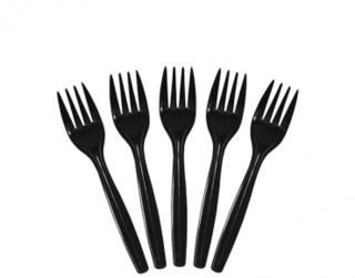 Costwise' Plastic Fork, Black 150 mm - Castaway