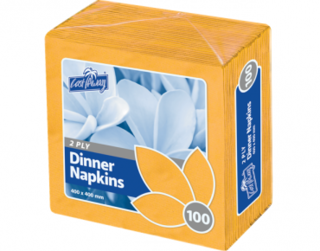 2 Ply Dinner Napkins, Quarter Fold, Gold - Castaway