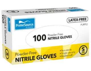 PrimeSource' Nitrile Glove - PF/Latex Free/Light Purple Small- Castaway