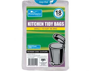 PrimeSource' Small Kitchen Tidy Bags - 18 Litres, Individually Folded - Castaway