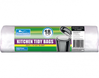 PrimeSource' Small Kitchen Tidy Bags - 18 Litres, Perforated Roll - Castaway