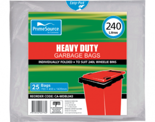 PrimeSource' 240L Heavy Duty Wheelie Bin Bags, Individually Folded - Castaway