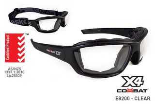 COMBAT X4' Safety spec, Foam seal, Clear Lens - Esko