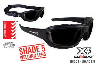 COMBAT X4' Safety spec, Foam seal, Shade Welding 5 Lens - Esko