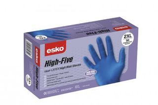 HIGH FIVE' Disposable Latex high risk gloves, P/F 2XL - Esko