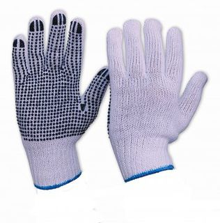 Knitted poly/cotton glove, White with PVC dots Large - Esko