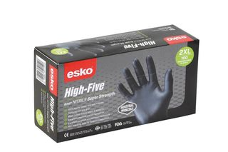 HIGH FIVE' Disposable H/Duty BLACK Nitrile gloves, P/F XL - Esko