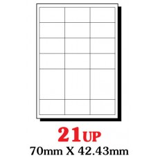 PRINZET A4  Label  70 x 42.4mm 21UP (Pack 100 sheets)