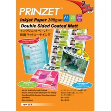 Inkjet Double Side PRINZET A4  200gsm Double Sided Coated Matt (20sheet/Pack)