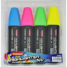 YOSOGO Highlighter Pen (Pack 4: Yellow/Green/Pink/Blue)