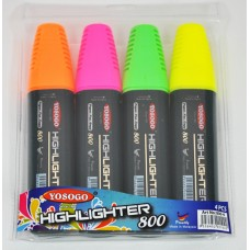 YOSOGO Highlighter Pen (Pack 4: Yellow/Green/Pink/Orange)