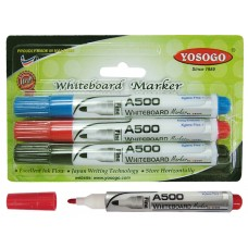 YOSOGO Whiteboard Marker BULLET Tip BLACK/RED/BLUE (3pcs/Blister Pack)