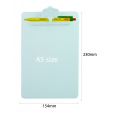 YOSOGO Clipboard Acrylic A5 Size with Pen Clip (Hang Sell Pack) GREEN
