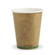 8oz Single Wall BioCup - kraft green stripe - Biopak