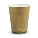 12oz Single Wall BioCup - kraft green stripe - Biopak