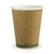 12oz Double Wall BioCup - kraft green stripe - Biopak