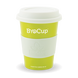 12oz reusable cup - green cup, white band & lid - Biopak