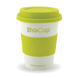 12oz reusable cup - white cup, green band & lid - Biopak