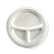 9� 3-compartment Round BioCane Plate - White - Biopak