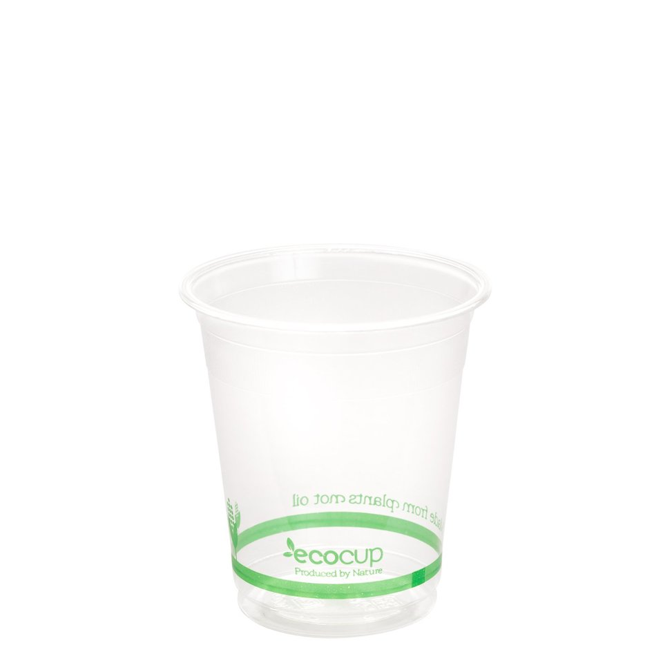 200ml Clear Cold Cup PLA Green logo - Ecoware