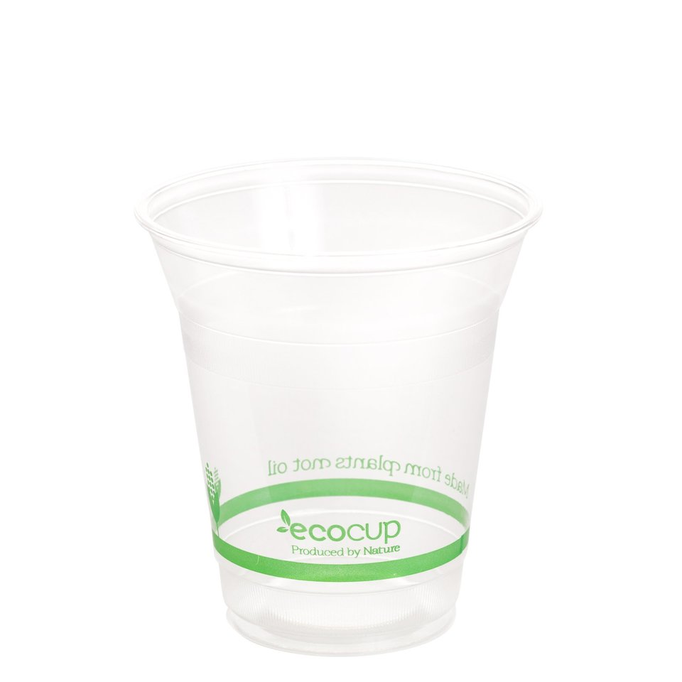 360ml Clear Cold Cup PLA Green Logo - Ecoware