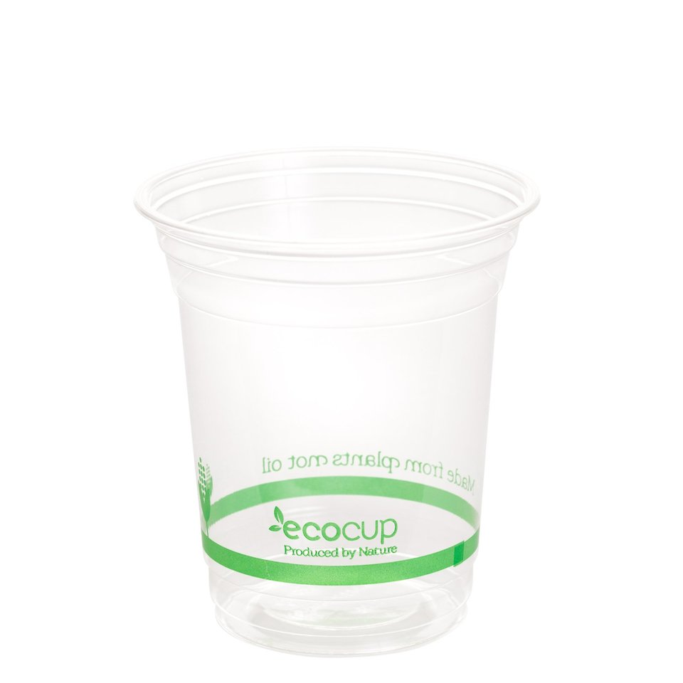 420ml Clear Cold Cup PLA Green logo - Ecoware