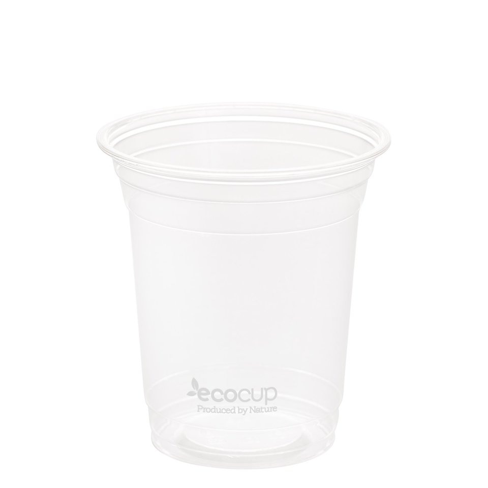 420ml Clear Cold Cup PLA White Logo - Ecoware