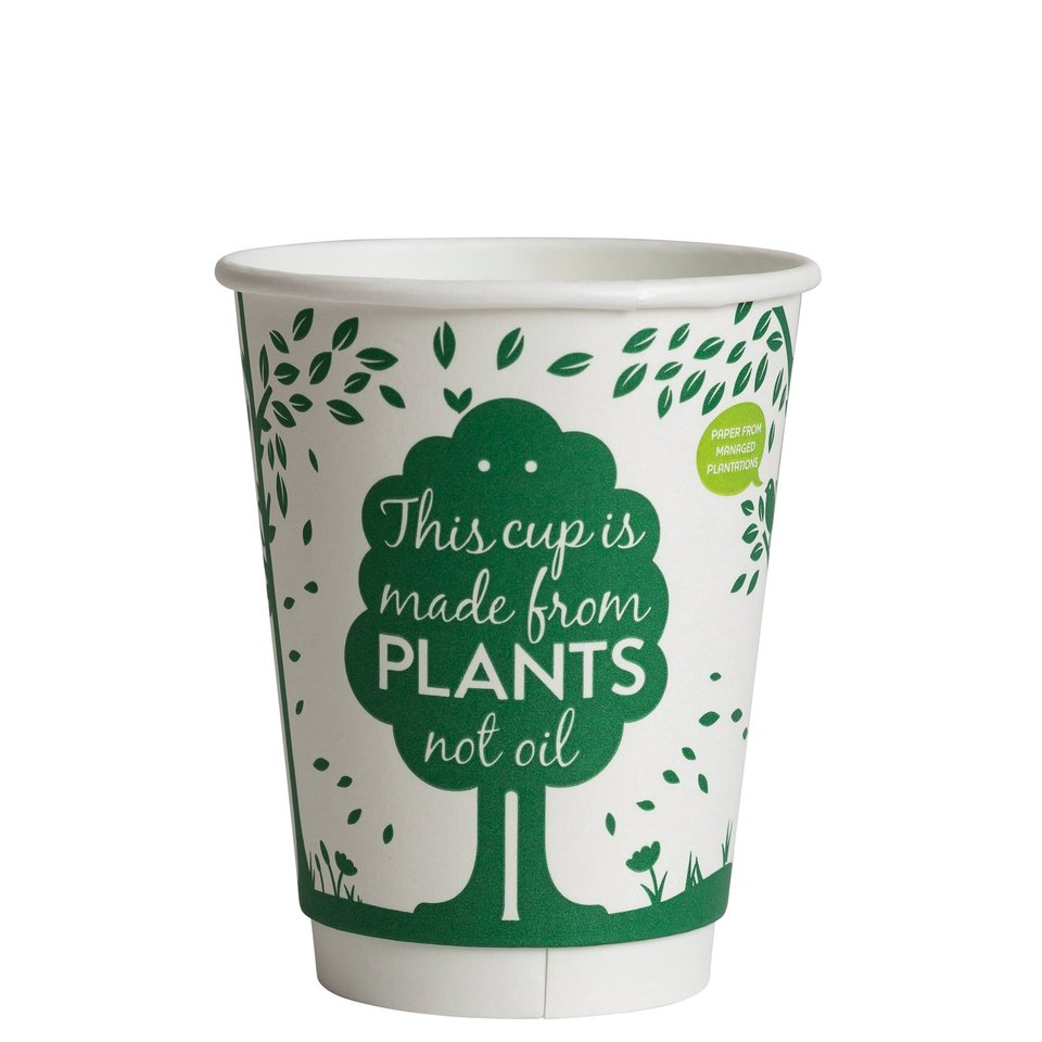 Hot Cup PLA Double Wall 12oz Green Logo (90 mm) - Ecoware