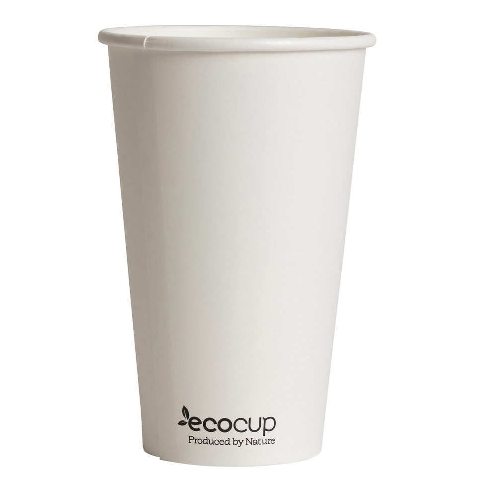 Hot Cup PLA Single Wall 16oz White - Ecoware