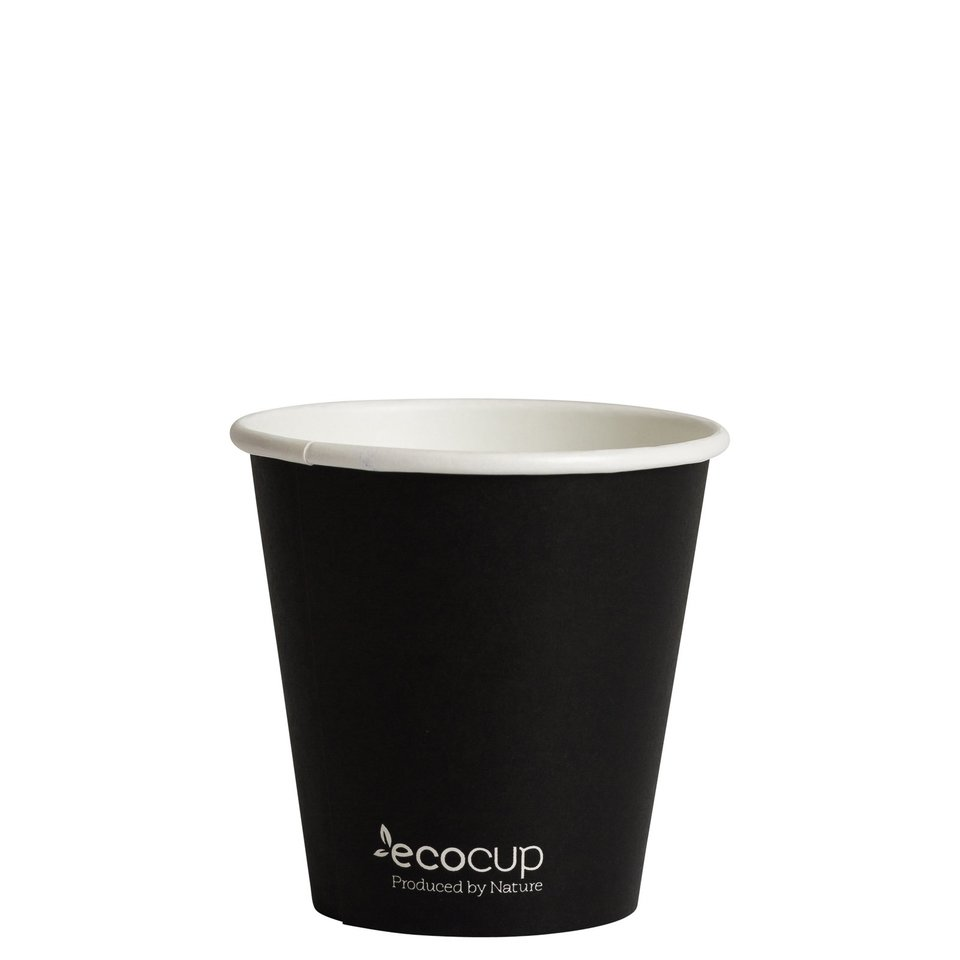 Hot Cup PLA Single Wall 6oz Black (80mm) - Ecoware