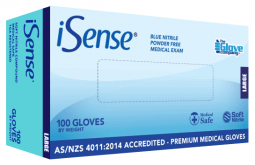 Nitrile Blue Medical PowderFree Large - iSense