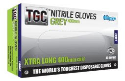 Nitrile Grey Gloves 400mm  PowderFree Large - TGC